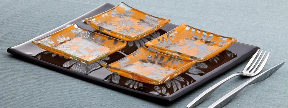 Thalass glass plates design piatti in vetro artigianali for Luce arredo modica